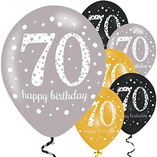 Feste Feiern Luftballon Deko 70. Geburtstag   6 Teile Zahlenballon Ballon Gold Schwarz Silber metallic Helium Party Set Happy Birthday 70 Jubiläum