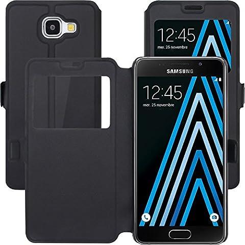 Samsung Galaxy A3 2016 A310 Funda , Anzhao Flip Funda con Función de Soporte y Ventana [View Window] para Samsung Galaxy A3 2016 A310 (Negro)