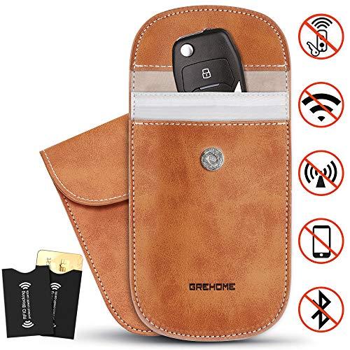 2 Pcs Car Key Signal Blocker Cases, Pure Leather Signal Blocker, Faraday Bag for Keyless Fobs Entry Guard, Car Key Signal Blocker Pouch with 2Pcs Secure Signal Blocker RFID Credit Card Protector