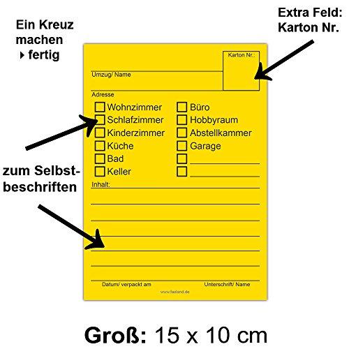 80x Umzugetiketten, 4 Farben, Beschriftung mit Etiketten vom Umzugskarton für den Überblick beim Umzug - 2