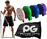 Physix Gear Pull Up Assist Bands - Best Heavy Duty Resistance Band for Assisted Pullups, Muscle Toning, Legs Glutes Crossfit Physical Therapy Stretch Pilates & Yoga - Improve Mobility & Strength -4SET - 5