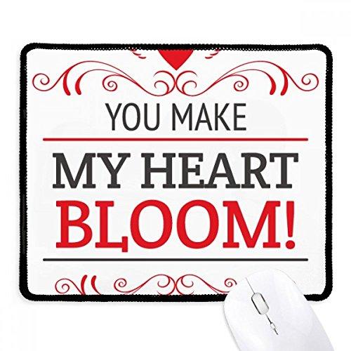 e Mein Herz Bloom Valentine Griffige Mousepad Spiel Büro Schwarz Titched Kanten Geschenk ()