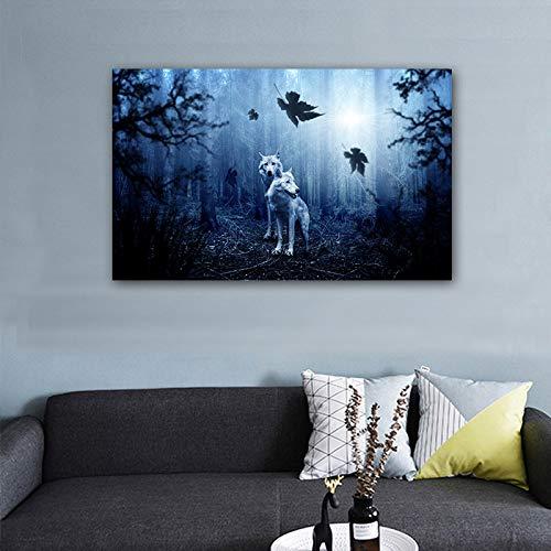 Print Bild Nacht Wolf Gruppe und Landschaft Modul Bild große Leinwand Malerei Schlafzimmer Wohnzimmer home Wandkunst Dekoration (kein Rahmen) A1 50x70CM