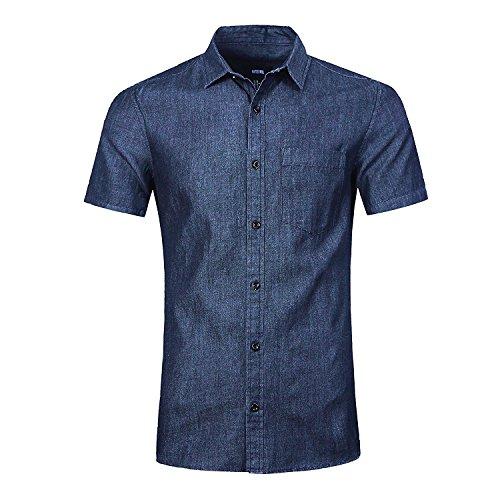 Nutexrol camicia da uomo camicia da cowgirl per camicia stile retrò estiva, t-shirt manica corta casual, blu scuro, l