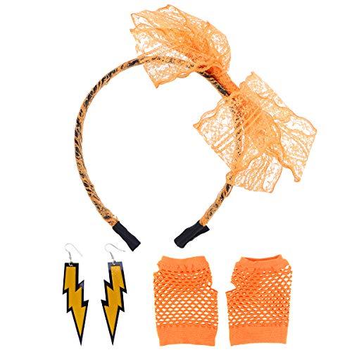 Jahre 80er Weibliche Kostüm - Toyvian 80er Jahre Kostüm Sets für Frauen 80er Jahre Spitze Neon Ohrringe Fingerlose Netzhandschuhe Stirnband für 80er Jahre Party Fancy Favors (Orange)