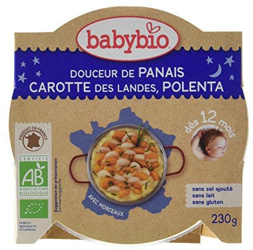 Babybio Assiette Douceur de Panais, Carotte des landes, polenta 12+ Mois 230 g - Lot de 5
