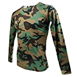 Gazechimp Top Camouflage Haut Pour Homme Militaire Dessin T-Shirt Manches Longues Col Rond Garçon Vêtement - armée verte, S