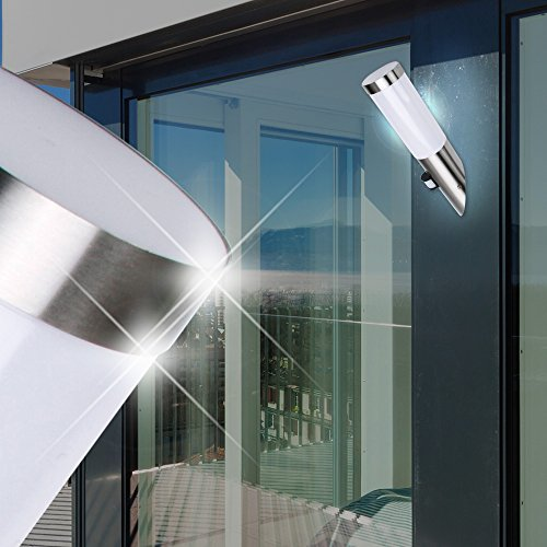 MIA Light Außen Sensor Fackelleuchte/Bewegungsmelder/Wandleuchte Außenleuchte Fackellampe Wandfackel Sensorleuchte Sensorlampe Wandlampe/Edelstahl