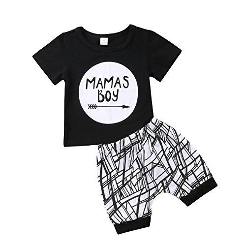 Geagodelia Baby Jungen Kleidung Set 2 PCS Kurzarm Shirt + Gestreift Shorts Mama's Boy Neugeborenes Outfit Sommer Bekleidungsset, Schwarz, 18-24 Monate