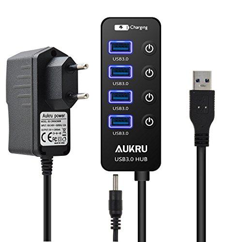 Aukru HUB USB 3.0 Alta Velocidad 5 puertos con interruptor + Fuente de alimentación 5V 2A para PC Portátil Windows con Windows XP / Vista / 7 / 8 y Mac OS etc