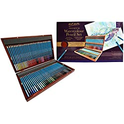 MONT MARTE Set de Lapices Acuarelables Premium Deluxe - 72 unidades de Lápices Acuarelables en Estuche de Madera - Lápices ideales para Dibujos de Colores - Perfecto como Regalo
