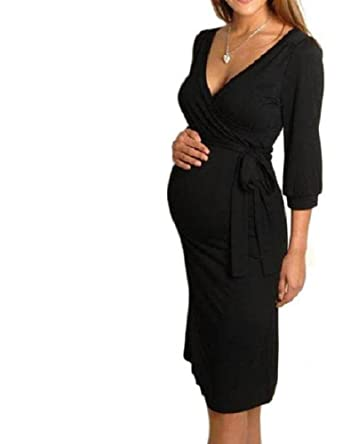 711e169d81a Top Women s Wiggle Dress V Neck Wrap Dress Short Sleeve Pencil Tunic ...
