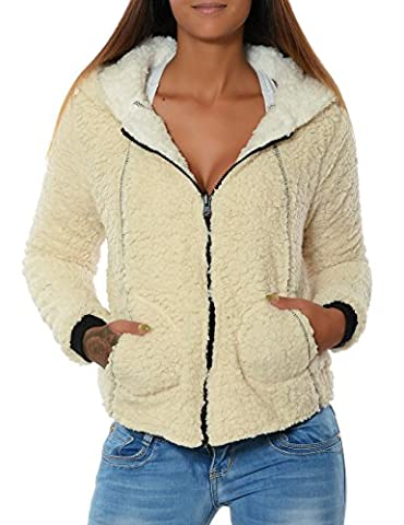 Damen Fleece Kapuzen-Pullover Hoodie Sweatshirt Sweat-Jacke Thermo Gefüttert (weitere Farben) No 15728, Farbe:Weiß, Größe:XL / 42