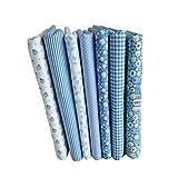 Busirde 7pcs Série Bleu Coton Tissu Fleur Motif Floral Couture Matériel Textile Bedding Bricolage Patchwork