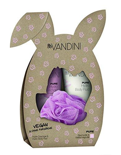 aldoVANDINI PURE Hasen Geschenkset, Duschgel & Lotion 200ml mit Magnolienduft, inklusive Massage Tuff, für Frauen, vegan 1er Pack - 1x1 Set