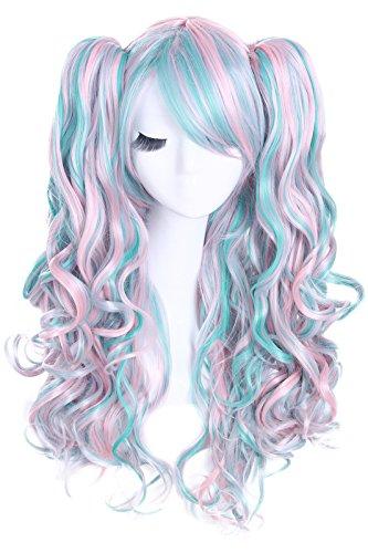 Nuoqi® Damen 70CM Lolita blau rosa Welle lange clip-on Cosplay Perücke (Für Zwei Halloween Kostüme Personen)