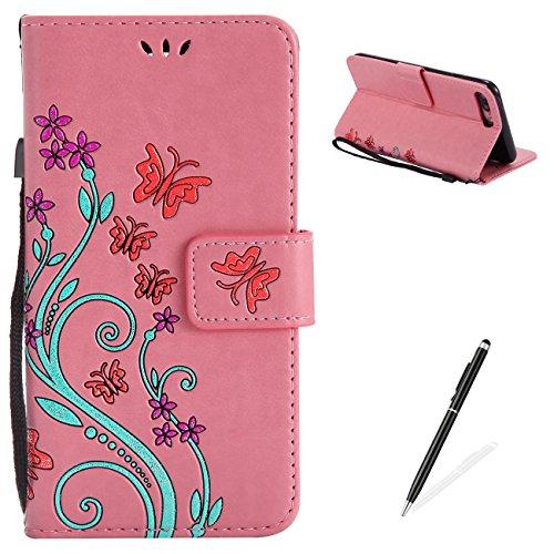 Apple iPhone 7 Plus 5.5 Case,MAGQI Premio Super Slim Fit Flip Pelle Sintetica Portafoglio Stile del Libro Custodia Borsa Con Slot Per Schede Funzione Dello Stand Chiusura Magnetica Sbalzato Rosa Fiore Rosa
