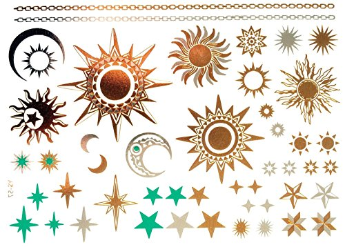 gold tattoo flash tattoos haut tattoos sonne mond sterne toller haut schmuck modeschmuck. Black Bedroom Furniture Sets. Home Design Ideas