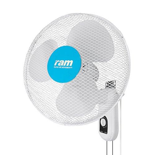RAM 08-355-295 400 mm/16-Inch 3-Speed Wall Fan - White