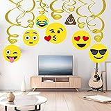 Sayala 30 Piecs Emoji-Icon Smiley Face Décorations d'anniversaire, Emoji Joyeux Anniversaire Décorations Filles Enfants Garçons Adultes Adolescent Fête d'anniversaire Fournitures Kit...