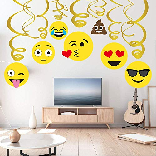 Sayala 30 Stücke Emoji-Icon Smiley Geburtstag Dekorationen, Emoji Happy Birthday Dekorationen Mädchen Kinder Jungen Erwachsene Teenager Geburtstag Party Supplies