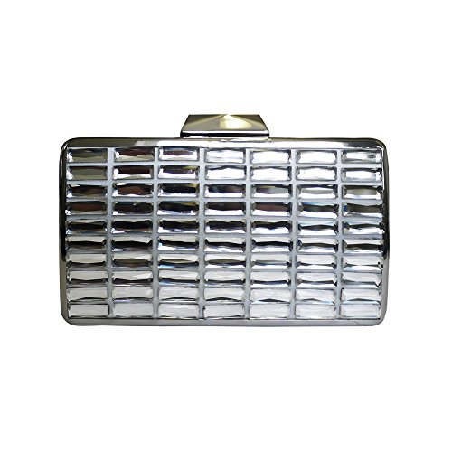 Anna Cecere Italienisch Entwickelt Splendare Juwel Clutch Abendcocktail Tasche - Silber (Handtasche Jeweled Damen)