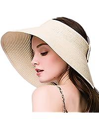 1a8b7f8eb18d7 Leisial Mujer Sombrero Sol Gorro Ancho De Sol Color Sólido Diseño Elegante  del Bowknot Casquillo De