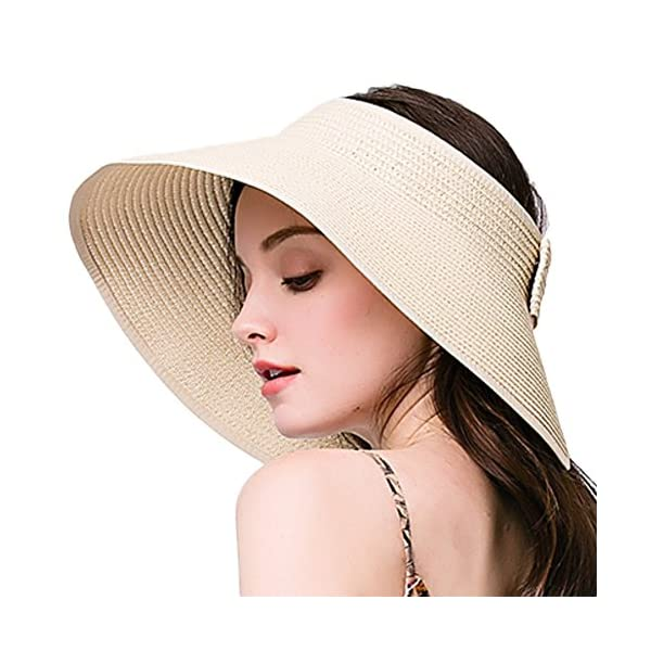 Leisial Women Ladies Sun Hat Wide Brim Solid Color Elegant Straw ... 3fbf48c6868