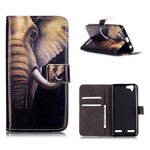 MOONCASE Lenovo Vibe K5 Custodia [Elefante] Modello Relief Portafoglio Porta Carte Protettiva in pelle Flip Cover Stand Case per Lenovo Vibe K5 / K5 Plus