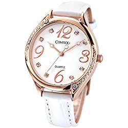 COMTEX Ladies Watches Rose Gold Tone with White Leather Strap Fashion Watches