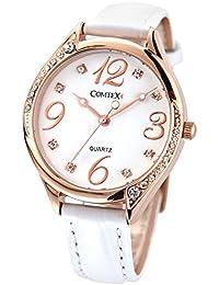 Comtex Reloj de mujer de cuarzo,correa de piel color blanco,caja de oro rosa