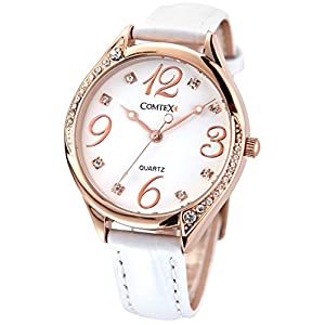 COMTEX Ladies Watches White Large Face Leather Rose Gold Tone White Leather Strap Fashion Watches