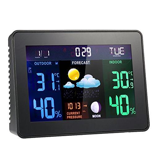 Anself Funk Wetterstation mit Farbdisplay (inkl. Außensensor) Wecker, Wettervorhersage, Hygrometer