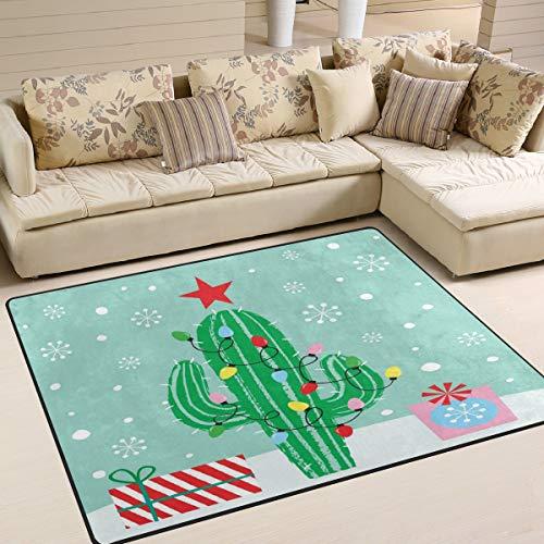 Use7 Teppich, Weihnachts-Kaktus, Geschenk, Winter, Schneeflocke, für Wohnzimmer, Schlafzimmer, Textil, Multi, 160cm x 122cm(5.3 x 4 feet)