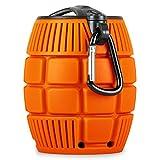 oneConcept • Grenadier • Bluetooth 3.0-Lautsprecher • Handgranaten-Design • Gummi-Oberfläche • Karabinerhaken • AUX-Eingang zum Anschluss externer Audiogeräte • Akku • Akkulaufzeit: 5 Std. max • Aufladen via USB • Freisprech-Funktion • orange