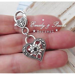 1 Charm Herz Liebe Herzerl Karabiner Anhänger Herzl Herzkarabiner TrachtenAnhänger Edelweiss Blume