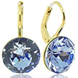 Ohrringe mit Kristallen von Swarovski Blau Gold NOBEL SCHMUCK