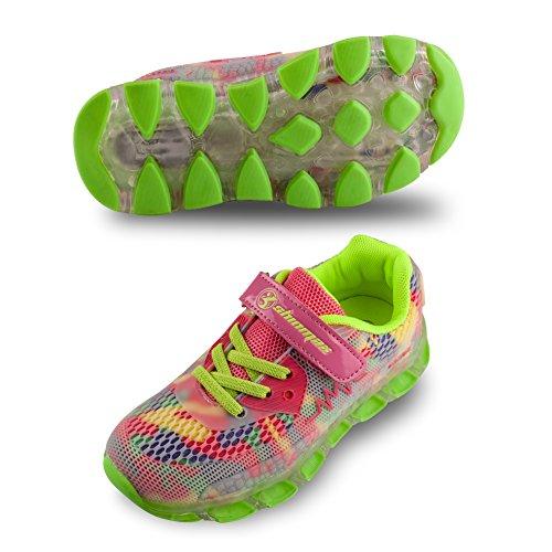 LED Chaussures,Shinmax Printemps-Été-Automne Respirante Lumineuse Chaussure USB Rechargeable Enfant LED Basket Clignotants Chaussures avec CE Certificat pour Fille et Garçon Rose-
