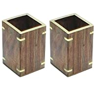Onlineshoppee Wooden Pen/Spoons/Tissue Stand With Brass Design,Pack Of 2