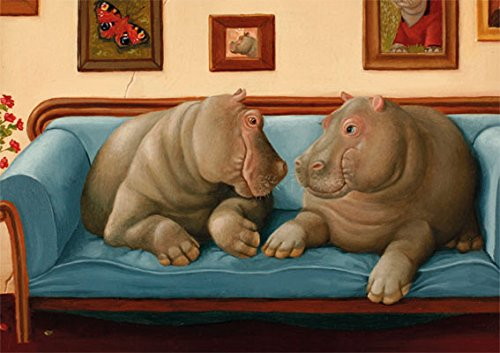 """Postkarte A6 • 17829 """"Nilpferde"""" von Inkognito • Künstler: Suzan Visser • Fantastik • Liebe & Romantik"""