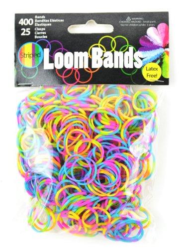 Loom Pack (Touch of Nature 400Value Pack Loom Bands,, sortiert, inkl. 25Kunststoff Schnallen, Neon Gestreift)