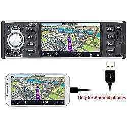 PolarLander Autoradio Bluetooth, Manos Libres Estéreo de Coche, Llamadas Manos Libres, 4 Pulgadas HD estéreo,de Pantalla de Espejo para Android teléfono 1 DIN USB/SD/FM/RDS con cámara Trasera