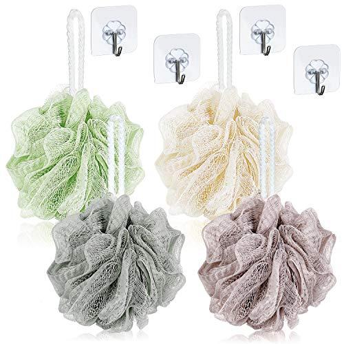 Badeschwamm Luffa Mesh Pouf Netz Badeschwamm für Peeling 4 Stücke mit 4 Kunststoff Nahtlose Haken zum Duschen Liefert -