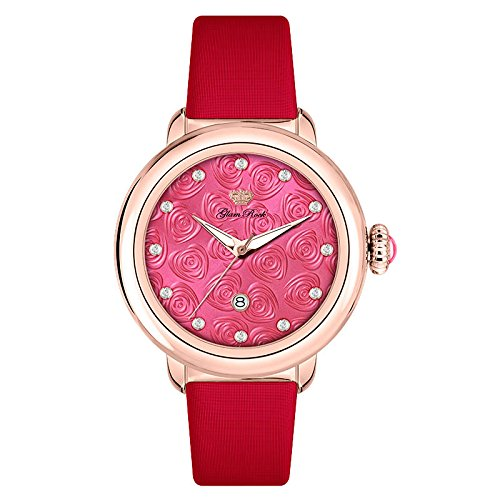 Glam Rock Women's Bal Harbour Diamond 40mm Red Satin Band Rose Gold Plated Case Swiss Quartz Watch GR77003