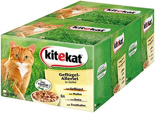 Kitekat Katzenfutter Nassfutter Geflügel-Allerlei in Gelee, 48 Portionsbeutel (2 x 24 x 100g)