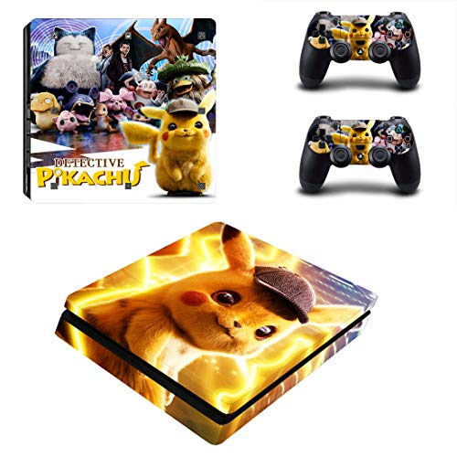 Decal Moments PS4 Slim Konsolen-Aufkleber für Playstation 4 Slim Konsole Dualshock 2 Controller Pikachu (nur PS4 Slim)