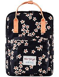 HotStyle Bestie Mochila floral moda 18L - Bolsa mujer para portatil de 14 pulgadas - Negro
