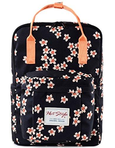 HotStyle Blumen Rucksack 18L - Wasserdichte Mädchen Schulrucksack für Laptop 14 zoll - Schwarz (Blumen-print-handtasche)