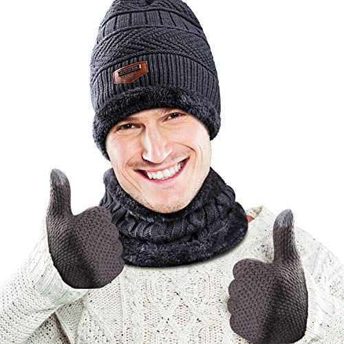 Winter Beanie Hat, Scarf and Touchscreen Gloves 3 in 1 Warm Accessory Kit with Soft Fleece Lining for Men Women - Grau -