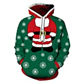 Yidarton Hoodie Herren Kapuzenpullover 3D Druck Weihnachten Sweatshirt Pullover Lässiger Langarm Tops Jumper Pulli Kapuzenpulli Grün XL